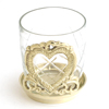 GLASS CUP ON HEART BASE - 3 pcs set