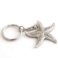 NICKEL STARFISH KEYCHAIN - 6 pcs set